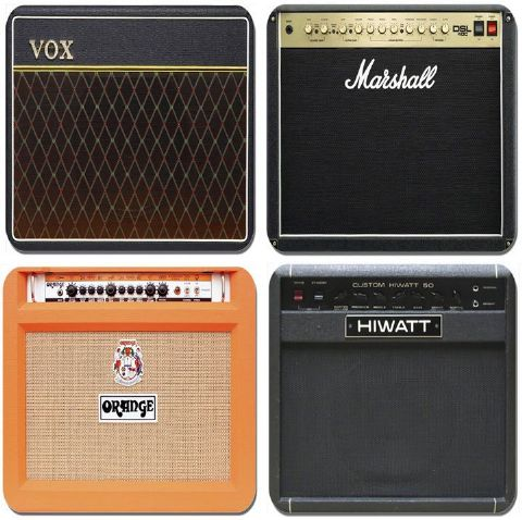 Classic Guitar Amplifier Coasters Set Of 4. Vintage Valve Amp High Quality Cork